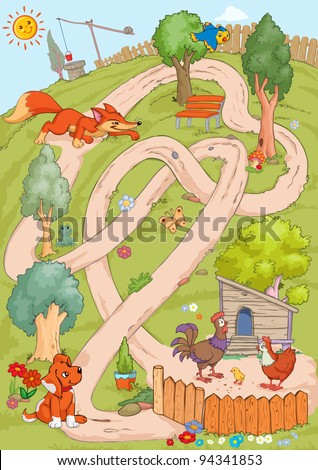 Vector illustration, maze, how the fox can reach the chicken without meeting the dog, card concept. - stock vector