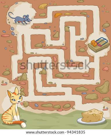 Vector illustration, maze, how the mouse can reach the cheese without being caught, card concept. - stock vector