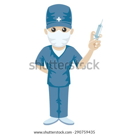 Vector illustration. Medic with syringe in his hand. - stock vector