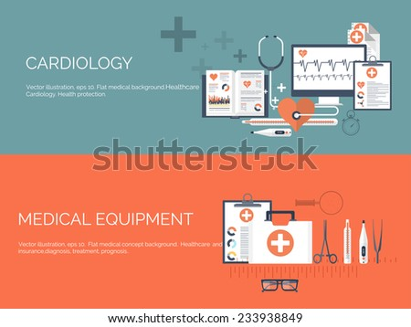 Vector illustration. Medical backgrounds set. First aid. Healthcare. - stock vector