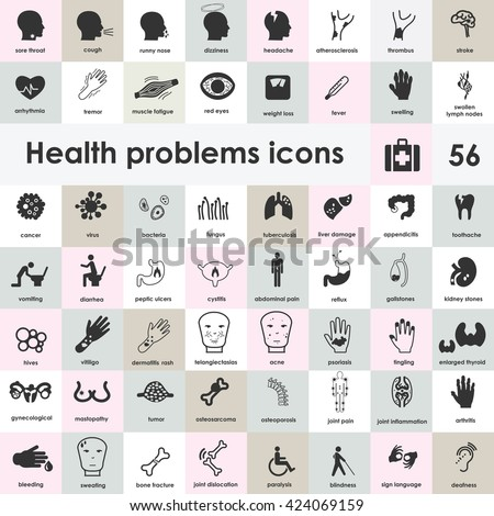 vector illustration / medical symptoms icons collection / health problems symbols set with names - stock vector