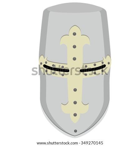Vector illustration medieval temlar knight helmet. Metallic crusader armor. Retro style - stock vector
