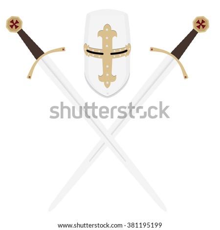 Vector illustration medieval templar knight helmet and two crossed swords. Metallic crusader armor. Medieval weapon - stock vector