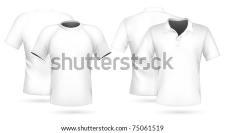 Vector illustration. Men's t-shirt and polo shirt design template (front & back).