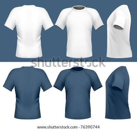 Vector illustration. Men's t-shirt design template (front, back and side view)