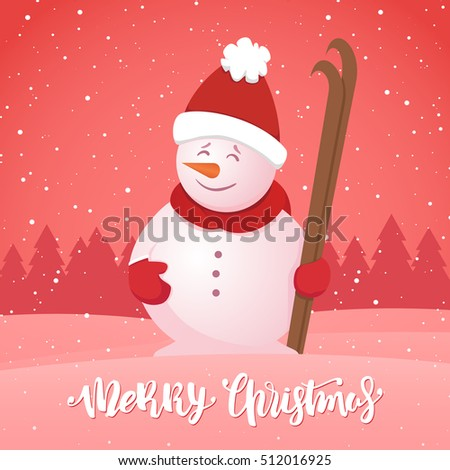 Vector illustration: Merry Christmas. Winter greeting card with snowman with ski on snowy forest background.