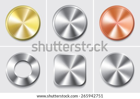 Vector illustration metal icon set - stock vector