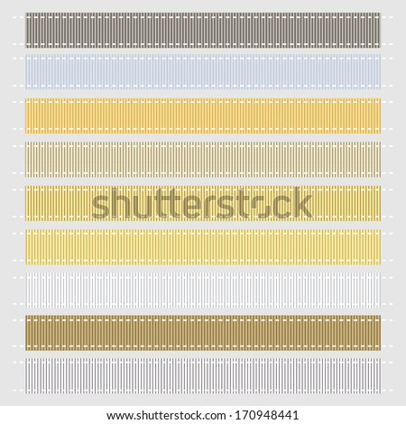 Vector Illustration, Metallic Grosgrain Ribbons. Also see other color sets! - stock vector