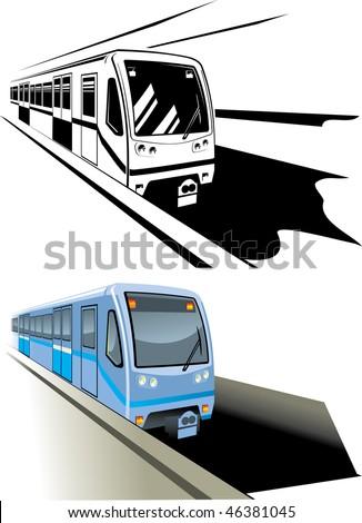 Vector illustration metro fast train - stock vector