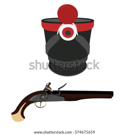 Vector illustration military hat and vintage musket gun. Musket or flintlock gun. Infantry shako - stock vector