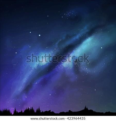 Vector illustration Milky Way. Starry sky. Night background. EPS 10 - stock vector