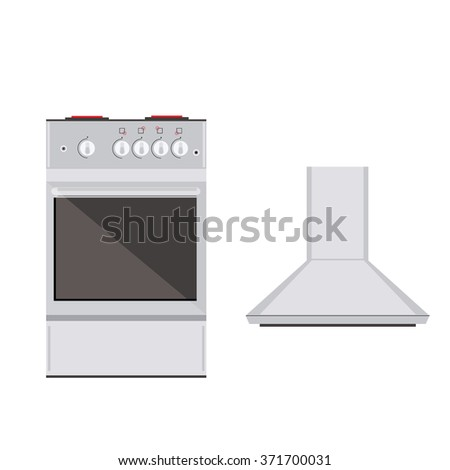 Vector Illustration Modern Electric Or Gas Stove And Extractor Kitchen Hood.  House Appliance. Kitchen
