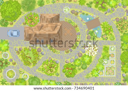 Modern Garden Design Top View Landscape From Above