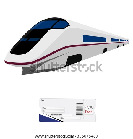 Vector illustration modern high speed train and passengers ticket. Fast train. Vehicles  to carry large numbers of passengers. High speed rail - stock vector