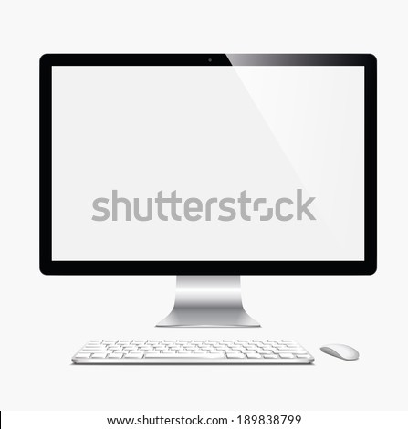 vector illustration modern monitor, computer on a white background - stock vector