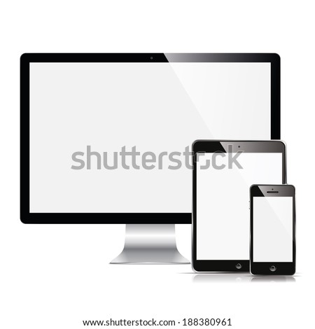 vector illustration modern monitor, computer, phone, tablet on a white background  - stock vector