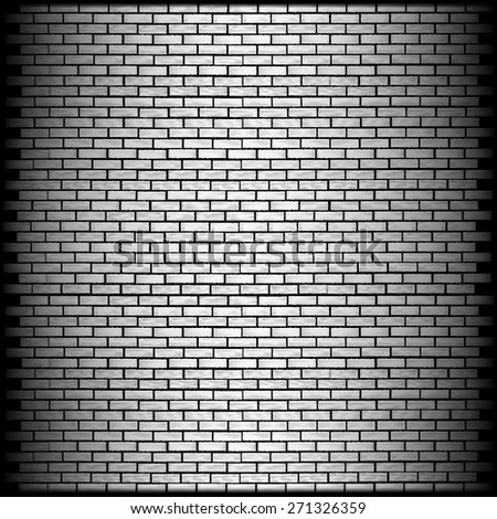 vector illustration monochrome brick wall with shadow on the edge - stock vector