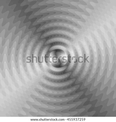 Vector Illustration. Monochrome Expanding Waves Intersect in the Center. Optical Effect of Volume and Movement. Suitable for textile, fabric, packaging and web design.