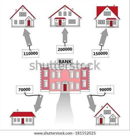 Vector illustration: mortgage loan to buy a house. Infographics: Mortgage loan as a cash flow. Buying real estate in white, red, grey colors. Banking services for the provision of mortgage lending. - stock vector