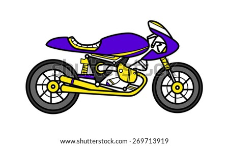 vector illustration motorcycle in bright colors flat