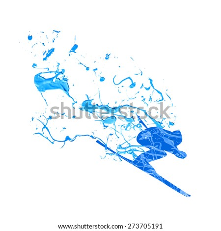 Vector illustration: mountain skier. Spray paint on a white background