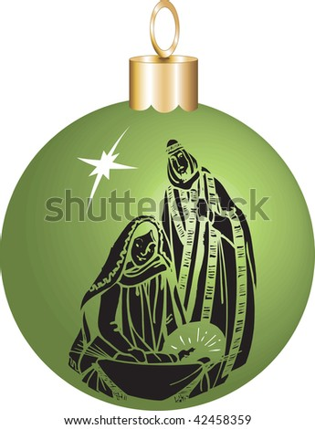 Vector Illustration Nativity Christmas Ornament with baby Jesus Mary and Joseph. - stock vector
