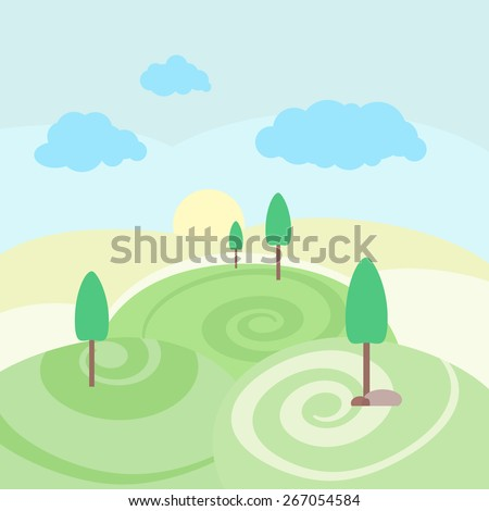 vector illustration nature landscape summer outdoor background with trees green mountains clouds summer backgrounds n61 summer