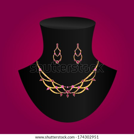 Vector Illustration Necklace And Earrings Stock Vector