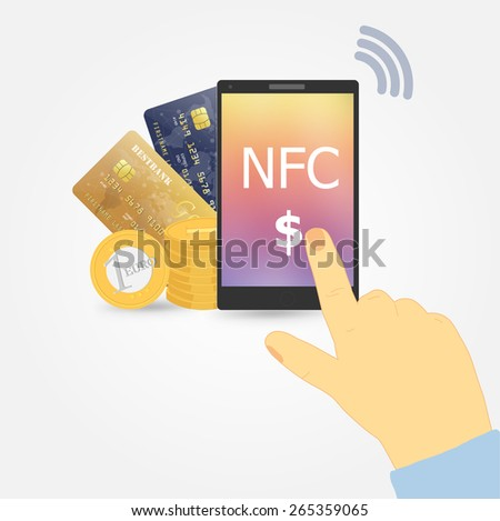 Vector illustration, nfc payment method  - stock vector