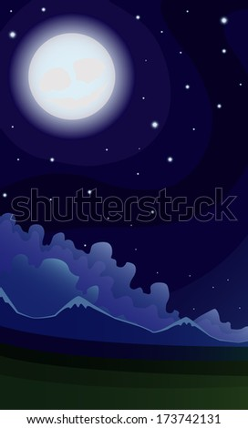 Vector illustration night landscape of the mountains