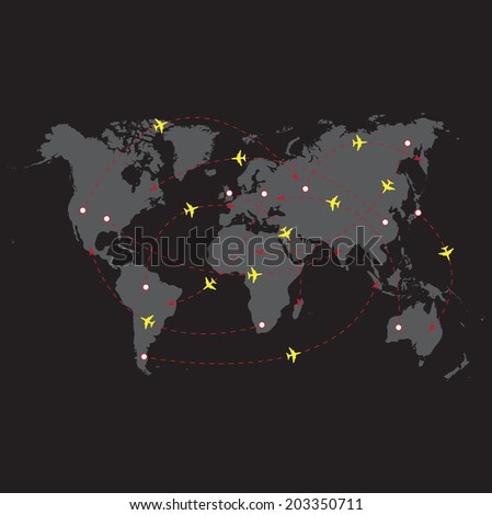 Vector illustration night travel world - stock vector