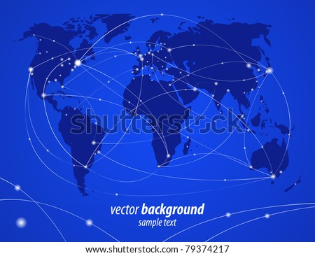 Vector illustration night travel world map - stock vector
