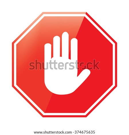 Vector illustration no entry hand sign on white background. Stop signal sign icon