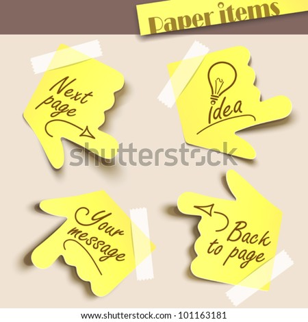 Vector illustration note paper. Message label - stock vector