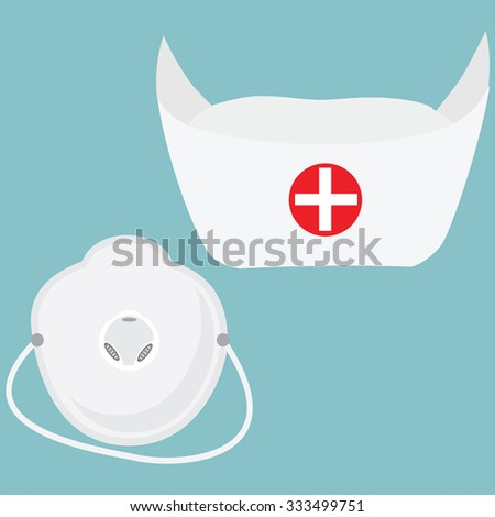 Vector illustration nurse hat and white medical mask, respirator on blue background. Medical accessories - stock vector