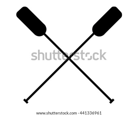 Vector Illustration Oars. Water Sport Icon. - stock vector