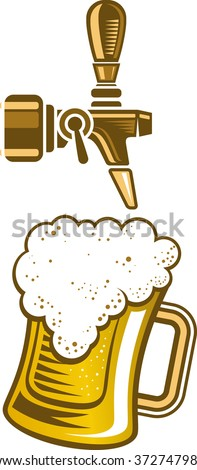 Vector illustration of a a beer tap and a glass of beer. - stock vector