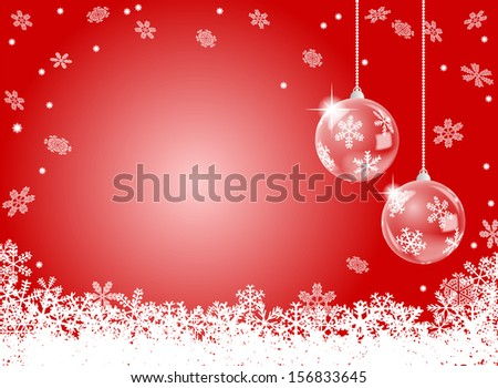 vector illustration of a abstract red snowflake background with two christmas baubles