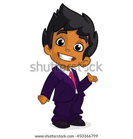 Vector illustration of a arab boy in man's clothes. Cartoon of a young boy dressed up in a mans business blue suit presenting - stock vector