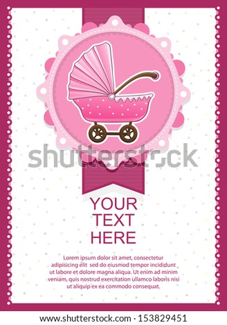 Vector Illustration Of a Baby girl Shower invitation Card - stock vector
