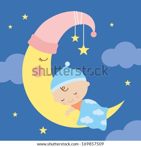 Vector illustration of a baby sleeping on the moon. - stock vector