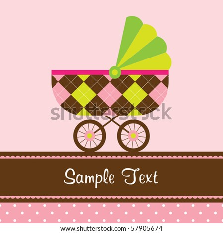 Vector illustration of a baby stroller on pink and polka dot background. - stock vector