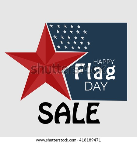 Vector illustration of a background for Happy Flag Day sale. - stock vector