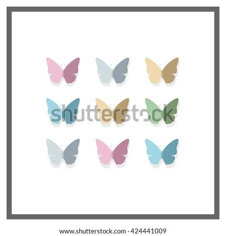 Vector Illustration of a Background with Pastel Colored Paper Butterflies - stock vector