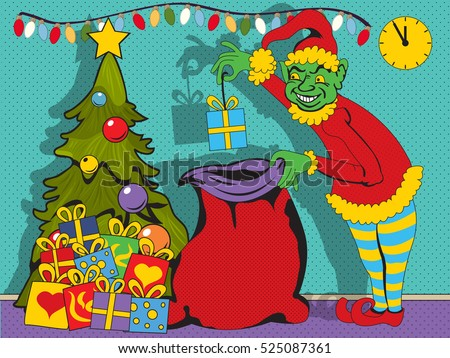 Vector illustration of a bad elf stealing gifts under the Christmas tree