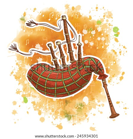 Vector illustration of a bagpipe on a watercolor background - stock vector