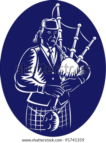 vector Illustration of a bagpiper playing Scottish Highlands Bagpipes done in retro woodcut style facing side set inside ellipse. - stock vector