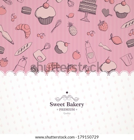 Vector Illustration of a Bakery Background - stock vector