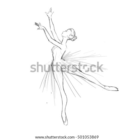 Vector Illustration of a Ballet Dancer Girl. Free Hand Drawing of a Young Ballerina. Vector Sketch.
