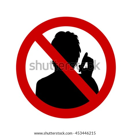 Vector illustration of a ban on talking on a white background.
